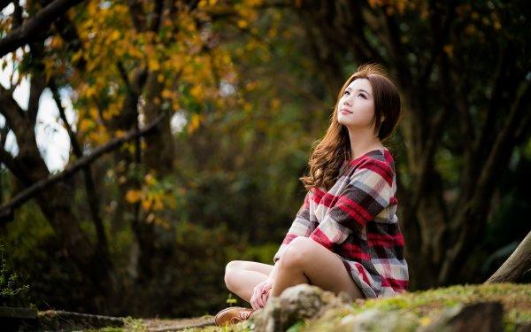 Women Asian Woman Model Depth Of Field Brunette Brown Eyes Long Hair HD Wallpaper | Background Image
