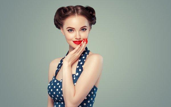 Women Model Models Lipstick Blue Eyes Brunette HD Wallpaper   Background Image