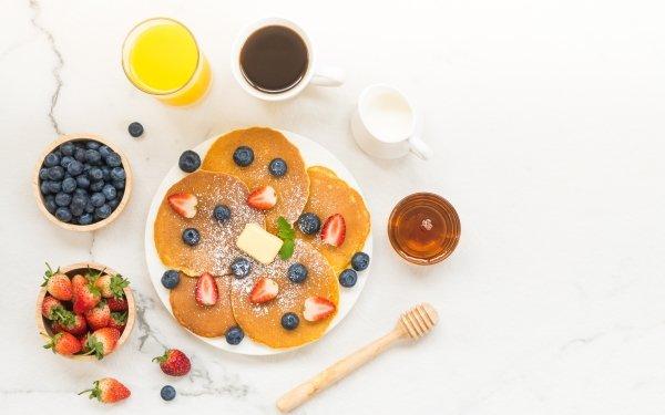 Alimento Desayuno Bodegón Panqueque Fruta Baya Arándano Fresa Fondo de pantalla HD | Fondo de Escritorio