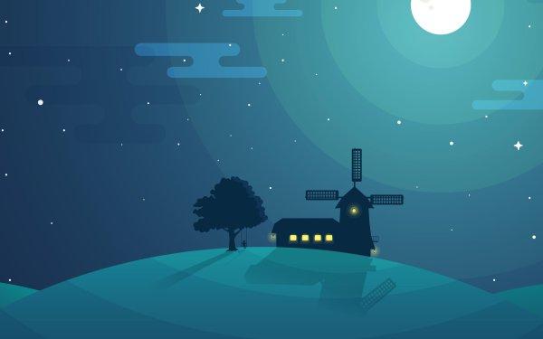 Artistic Minimalism Windmill HD Wallpaper | Background Image