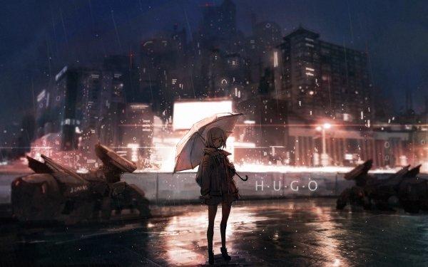 Anime Original Rain Night HD Wallpaper   Background Image
