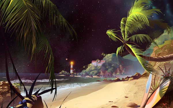 Fantasy Landscape Beach Ocean Lighthouse Surfboard HD Wallpaper   Background Image
