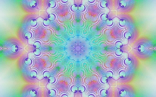 Abstract Fractal Artistic Digital Art Colors Kaleidoscope Pattern Optical Gradient Generative HD Wallpaper | Background Image