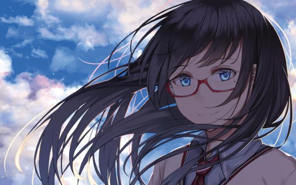 Anime Original Black Hair Blue Eyes Glasses HD Wallpaper   Background Image