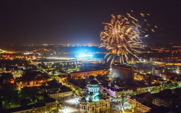 Photography Fireworks Night City Kaunas Lithuania Building HD Wallpaper | Background Image