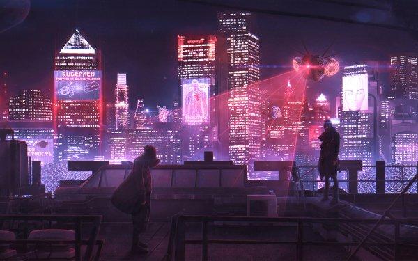Sci Fi Cyberpunk City Futuristic People Skyscraper HD Wallpaper   Background Image