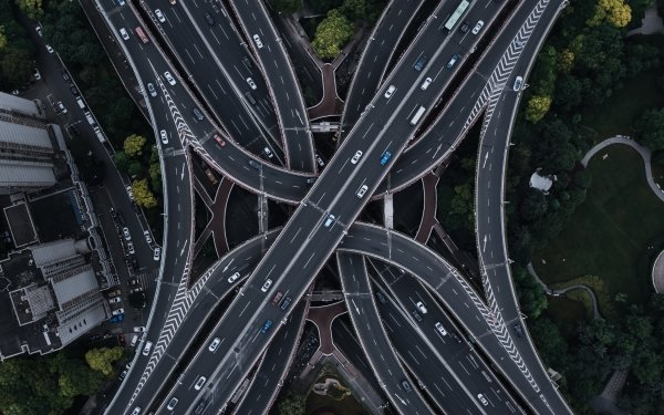 Man Made Highway Road Aerial Shanghai China HD Wallpaper | Background Image