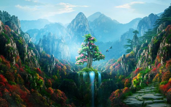 Fantasy Landscape Forest Nature Waterfall Tree Mountain HD Wallpaper   Background Image