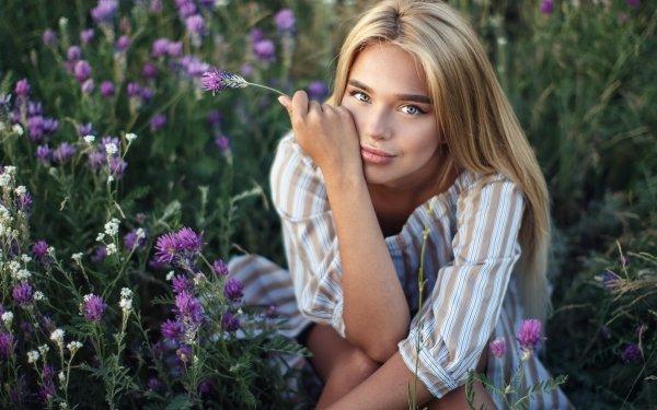 Women Model Models Flower Blonde Blue Eyes HD Wallpaper | Background Image