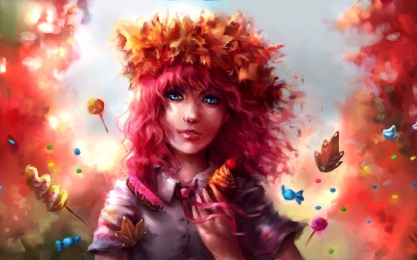 Fantasy Women Fall Sweets Candy Cupcake Dream HD Wallpaper | Background Image