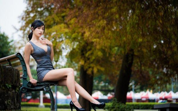 Women Asian Woman Model High Heels Black Hair Dress Depth Of Field HD Wallpaper | Background Image