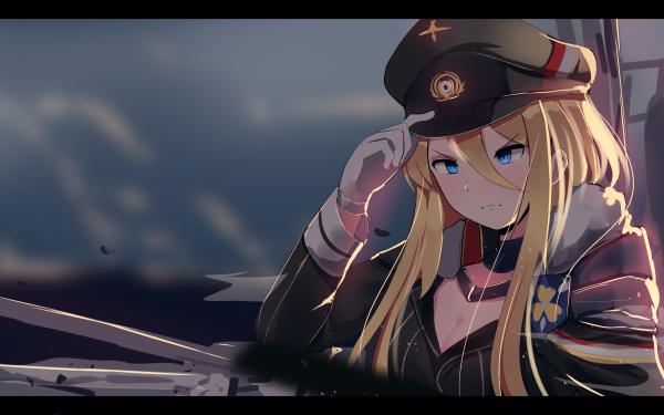 Anime Azur Lane Blonde Uniform Blue Eyes Bismarck HD Wallpaper   Background Image