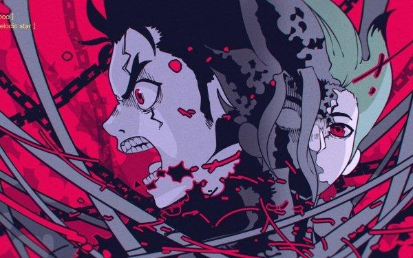 Anime Dr. Stone Senku Ishigami Taiju Oki Red Eyes HD Wallpaper | Background Image