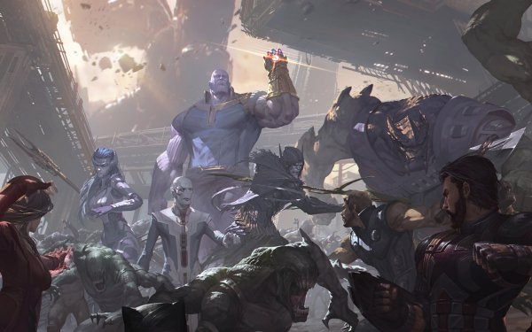 Movie Avengers: Infinity War The Avengers Thanos Proxima Midnight Corvus Glaive Ebony Maw Cull Obsidian Scarlet Witch Captain America Thor Outriders HD Wallpaper | Background Image