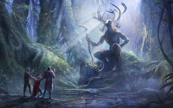 Fantasy Creature Celtic Forest Cernunnos HD Wallpaper | Background Image