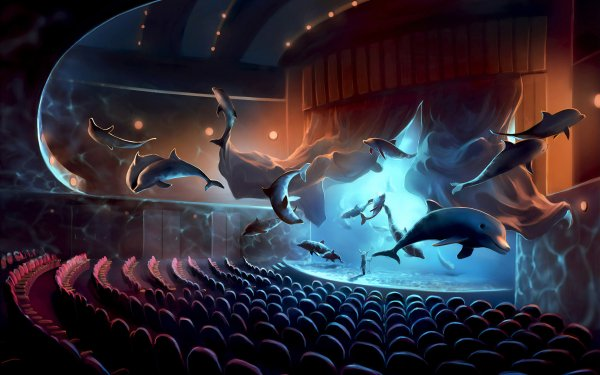 Fantasy Animal Fantasy Animals Dolphin Theater HD Wallpaper | Background Image