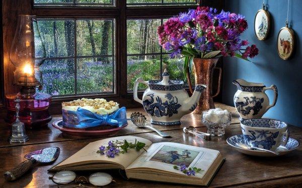 Photography Still Life Flower Kerosene Lamp Book Teapot Cup HD Wallpaper | Background Image