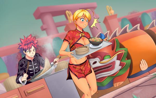 Anime Food Wars: Shokugeki no Soma Sōma Yukihira Ikumi Mito HD Wallpaper | Background Image