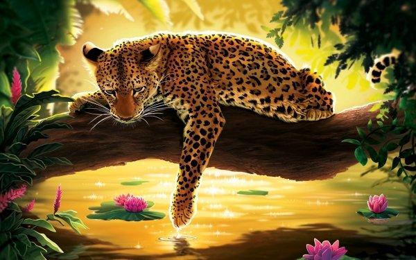 Fantaisie Leopard Pond Nénuphar Fond d'écran HD | Arrière-Plan