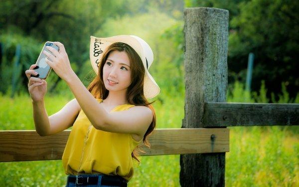 Women Asian Girl Hat Selfie Woman Model Long Hair Brunette HD Wallpaper | Background Image