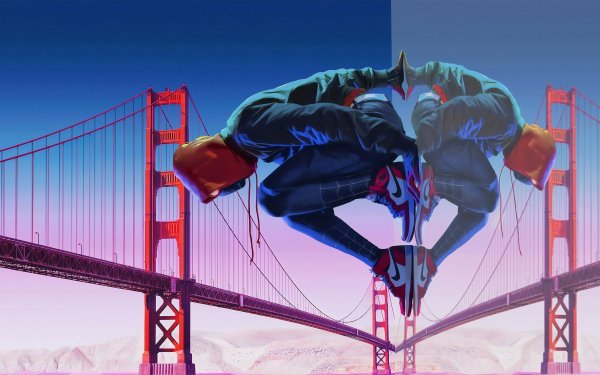 Movie Spider-Man: Into The Spider-Verse Spider-Man Reflection Golden Gate Miles Morales HD Wallpaper   Background Image