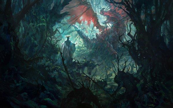Fantaisie Dragon Forêt Concept Art Fond d'écran HD   Image