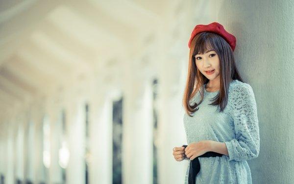 Women Asian Woman Model Brunette Hat Depth Of Field HD Wallpaper | Background Image
