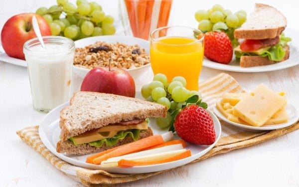 Food Breakfast Apple Cheese Milk Strawberry Juice Grapes Sandwich Still Life HD Wallpaper | Background Image