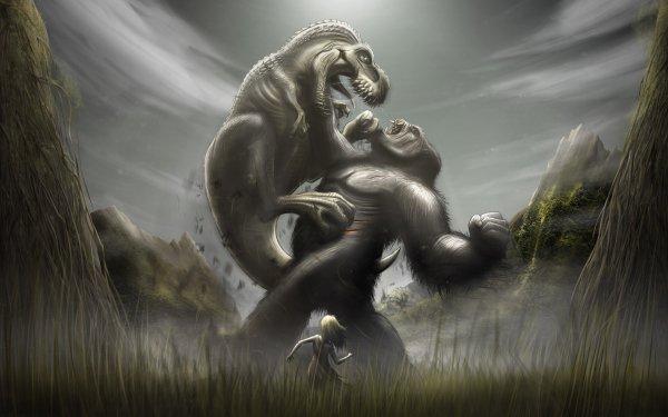 Fantaisie King Kong Dinosaure Tyrannosaurus Rex Bataille Fond d'écran HD | Image