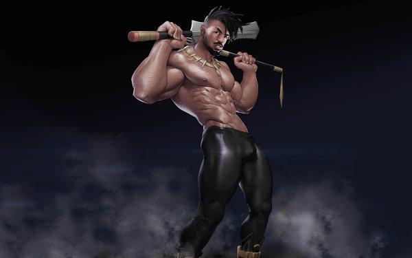 Movie Black Panther Erik Killmonger Muscle Marvel Comics HD Wallpaper | Background Image
