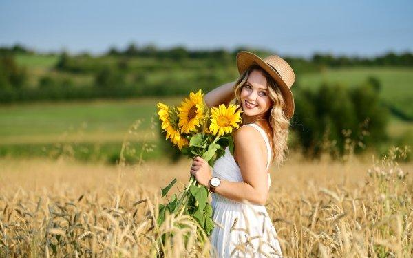Women Model Models Summer Smile Blonde Hat White Dress Depth Of Field Sunflower HD Wallpaper | Background Image