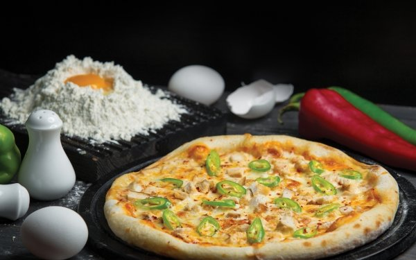 Food Pizza Egg Pepper Flour Still Life HD Wallpaper | Background Image