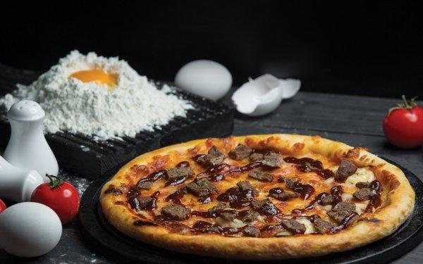 Food Pizza Egg Tomato Flour Still Life HD Wallpaper | Background Image