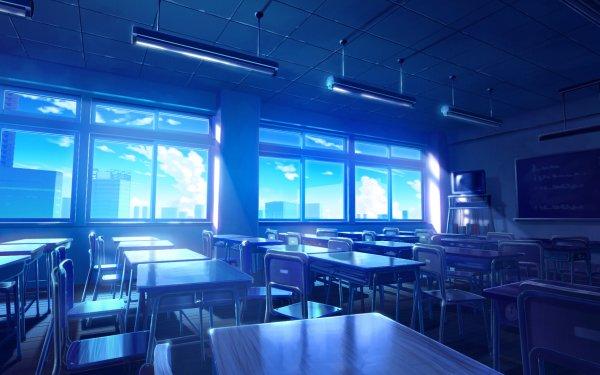 Anime Original Classroom Interior Chair HD Wallpaper | Background Image