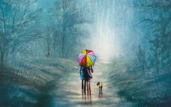 Artistic Rain Umbrella Friend HD Wallpaper | Background Image