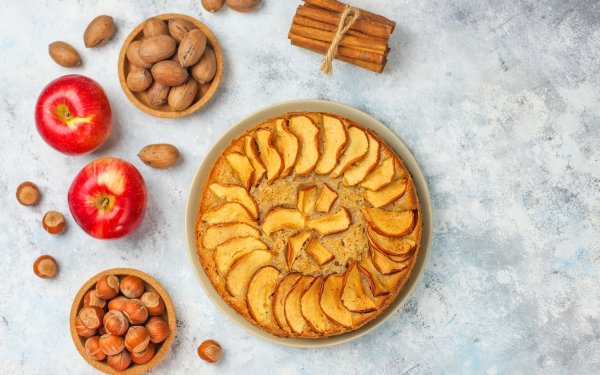 Food Pie Apple Nut Cinnamon Pastry Still Life Hazelnut HD Wallpaper | Background Image