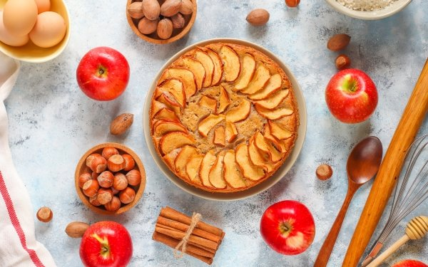 Food Pie Apple Nut Cinnamon Pastry Hazelnut Still Life HD Wallpaper | Background Image