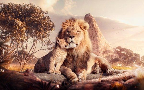 Movie The Lion King (2019) Lion Mufasa Simba HD Wallpaper | Background Image