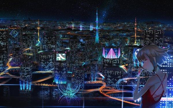 Anime Original Girl City Starry Sky HD Wallpaper   Background Image
