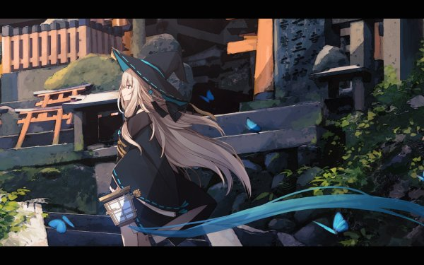 Anime Original Witch White Hair Long Hair Blue Eyes Hat Butterfly HD Wallpaper | Background Image