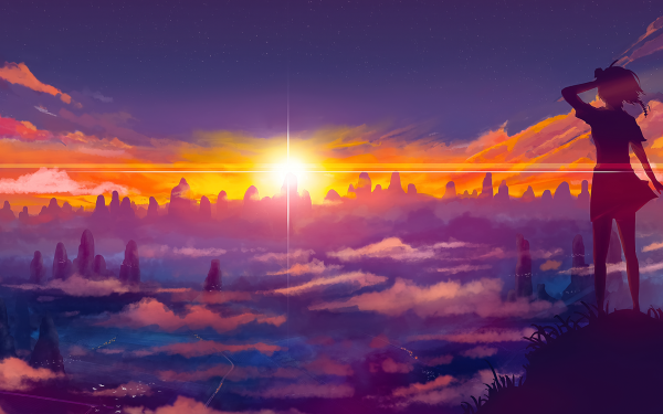 Anime Original Amanecer Nube Montaña Cielo Short Hair Sol Fondo de pantalla HD | Fondo de Escritorio