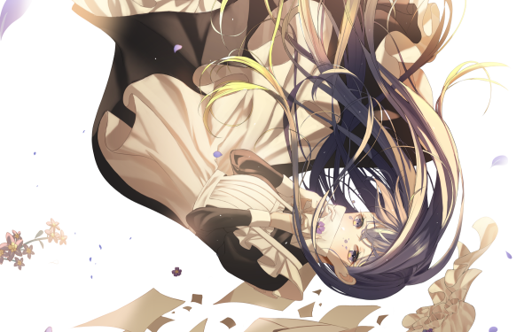 Anime Original Falling Fille Purple Eyes Purple Hair Letter Fleur Fond d'écran HD | Arrière-Plan