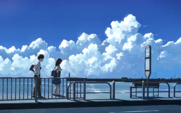 Anime Original Girl Boy Sky HD Wallpaper | Background Image