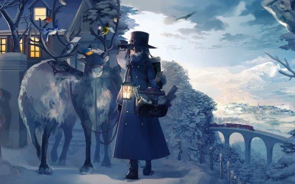 Anime Original Winter Snow Reindeer Lantern HD Wallpaper   Background Image