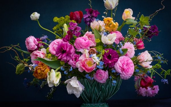 Man Made Flower Tulip Rose Peony Colorful Vase Forget-Me-Not Buttercup HD Wallpaper | Background Image