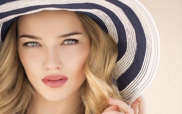 Women Face Woman Model Lipstick Blonde Hat Blue Eyes HD Wallpaper   Background Image