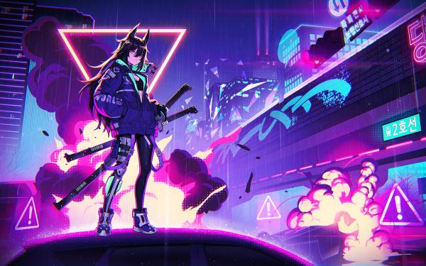 Anime Original Amiya Cyberpunk Neon HD Wallpaper | Background Image