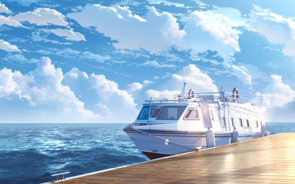 Anime Original Sky Ocean Cloud Boat HD Wallpaper | Background Image