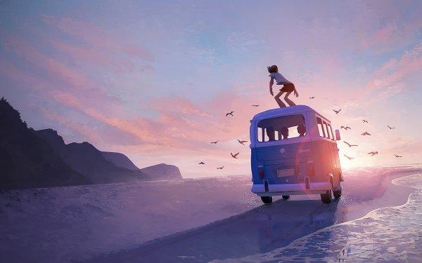 Anime Original Van Sunset Beach HD Wallpaper | Background Image