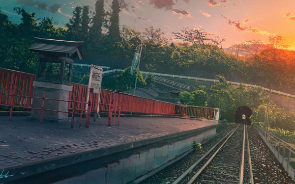 Anime Original Train Station HD Wallpaper | Background Image